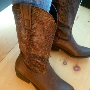 Rampage Shoes - Rampage Brown Faux Snakeskin Cowboy Boots